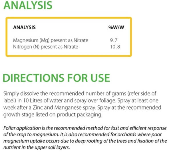 Mg nitrate analysis-directions